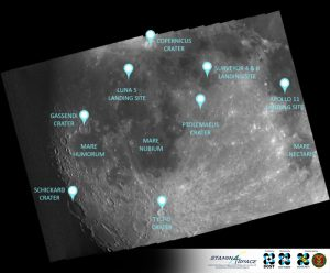 Figure 3. Notable features include the famous landing sites of Apollo 11, Luna 5, and Surveyor 3 & 4; Tycho Crater, Gassendi Crater, Ptolemaeus Crater, Schickard Crater, Copernicus Crater, Mare Humorum, Mare Nubium, and Mare Nectaris.